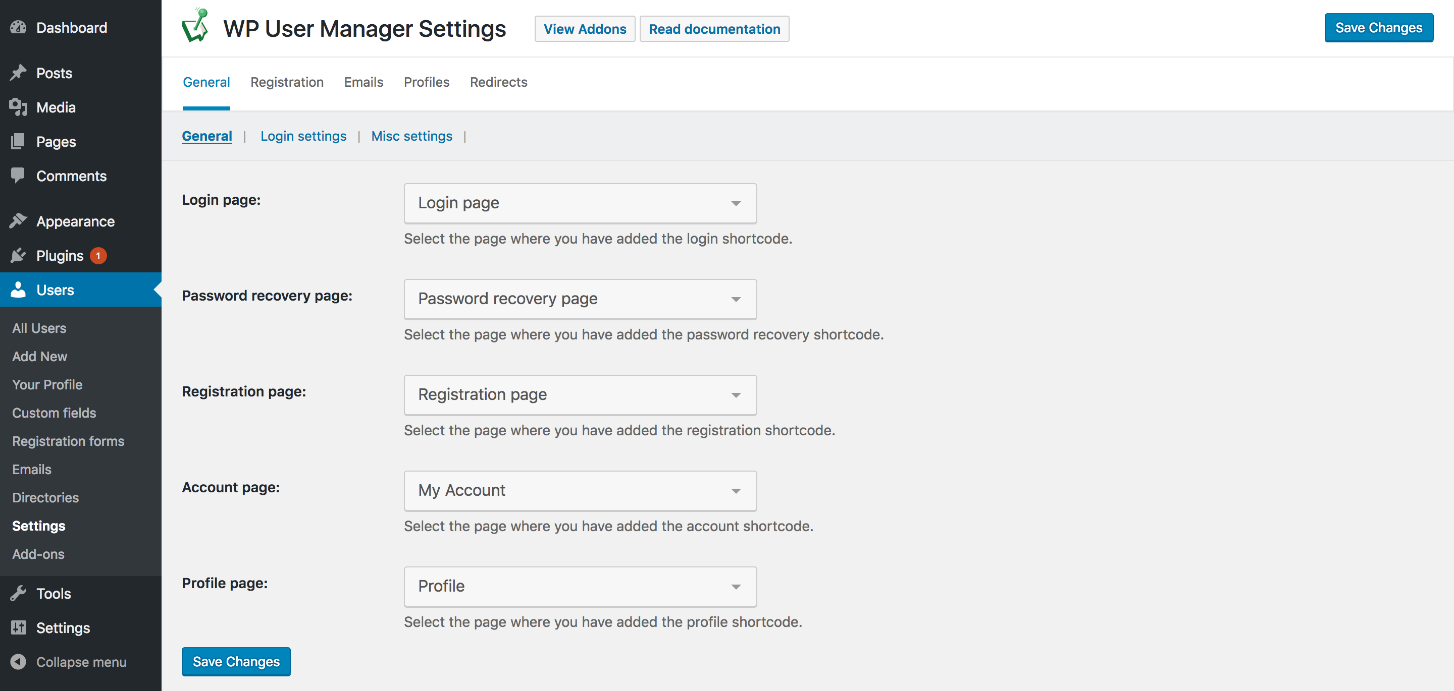 WP User Manager 2.0.0 settings panel