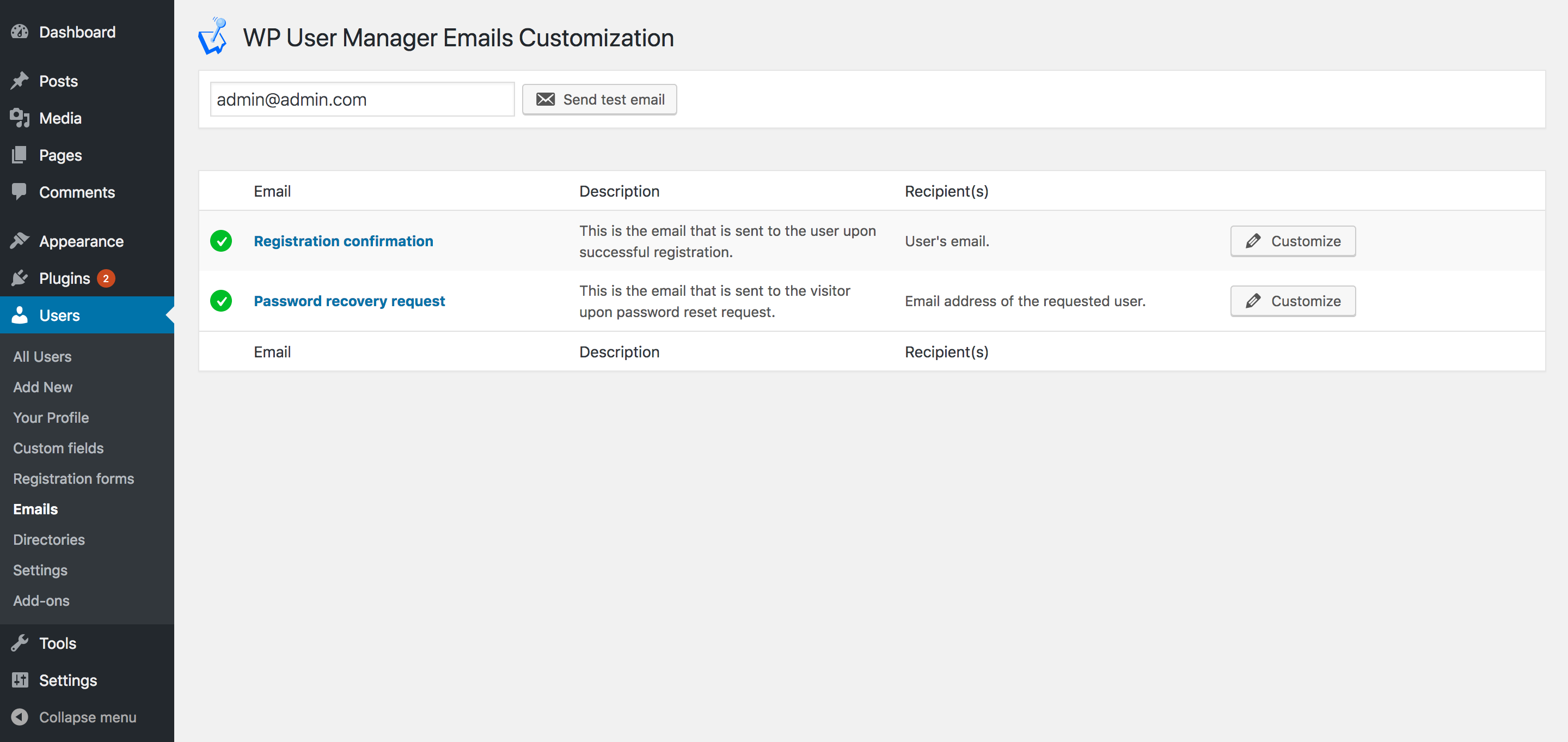 WP User Manager custom email settings