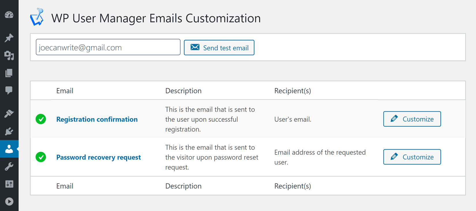 Customize Password Reset Emails
