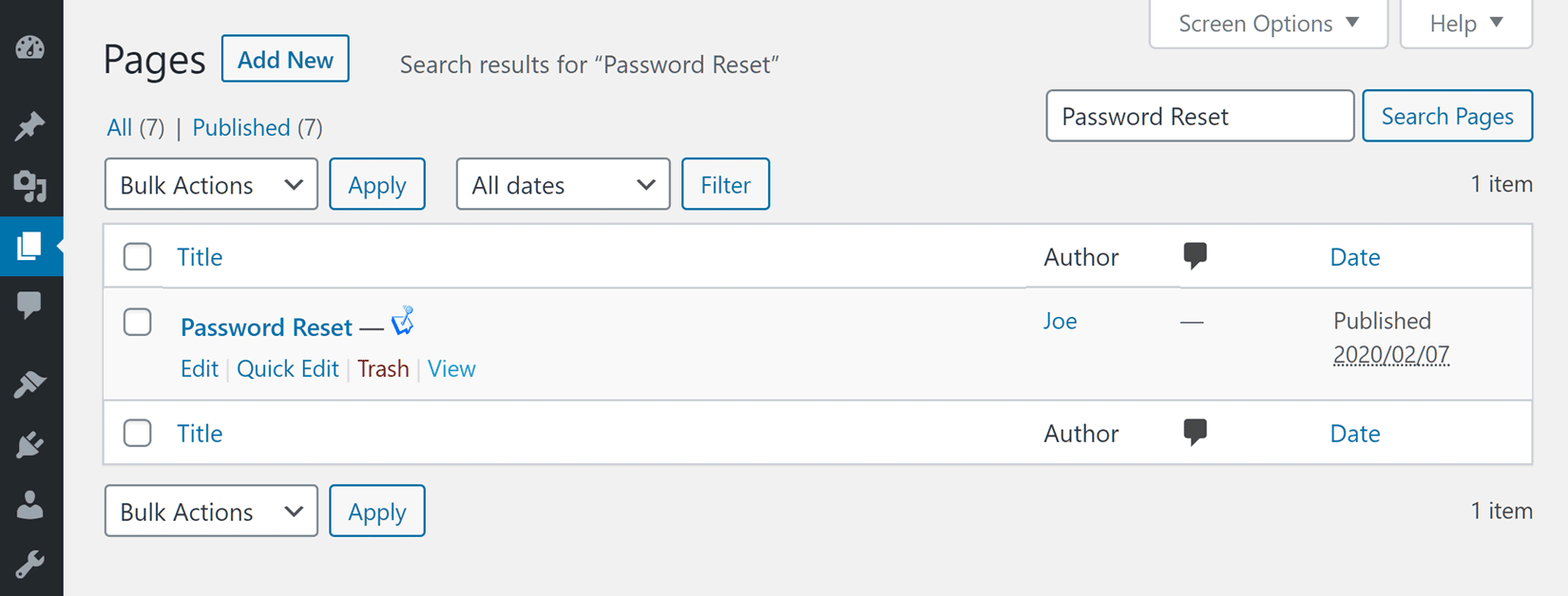 Custom Password Reset Page