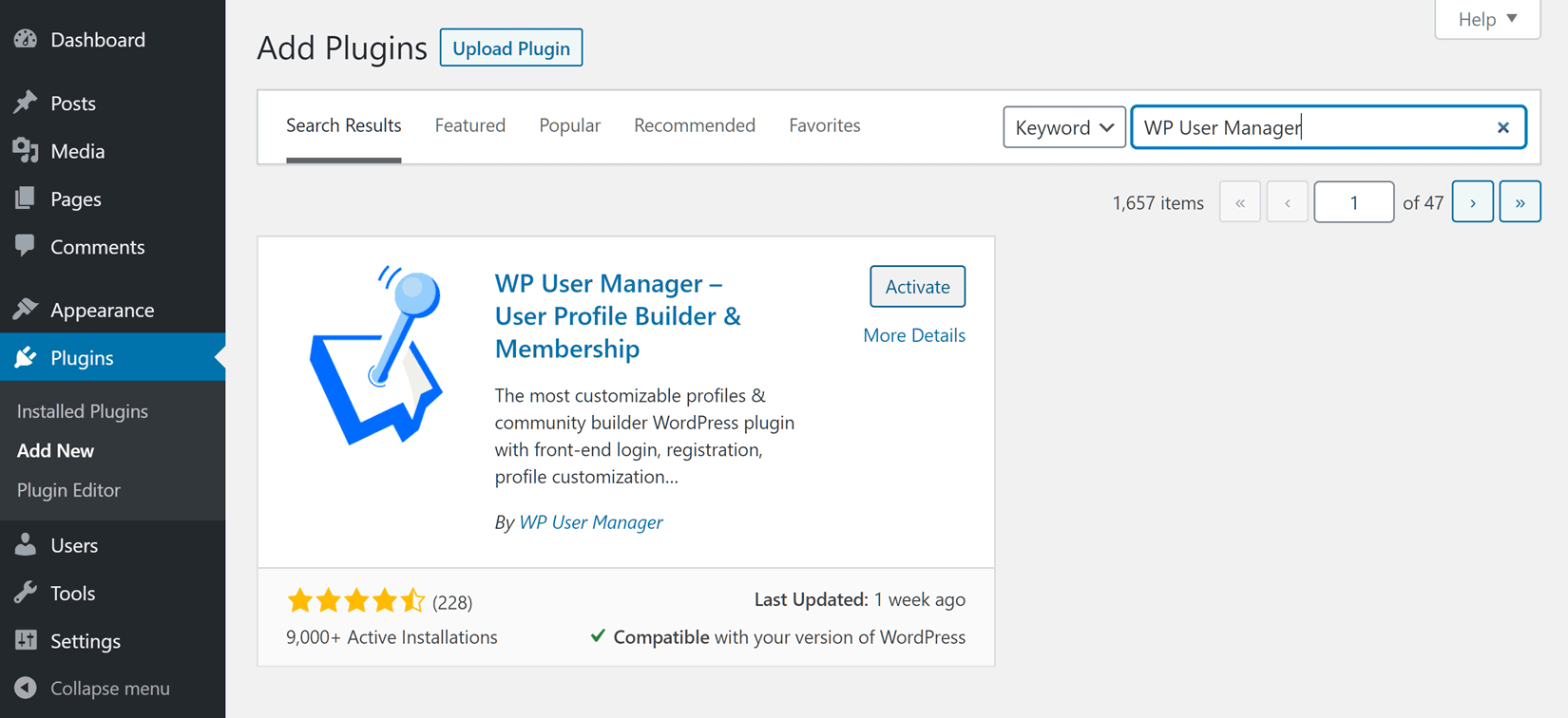 Add WP User Manager Plugin