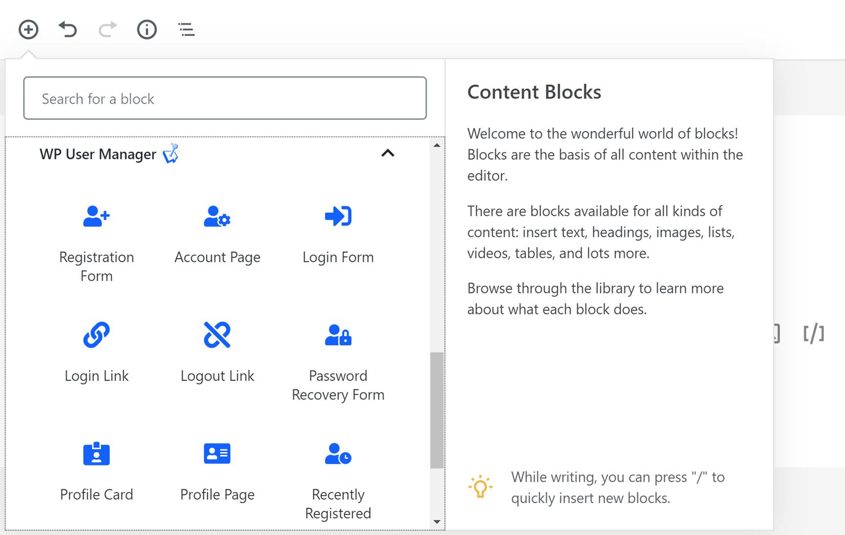 WP User Manager Content Blocks