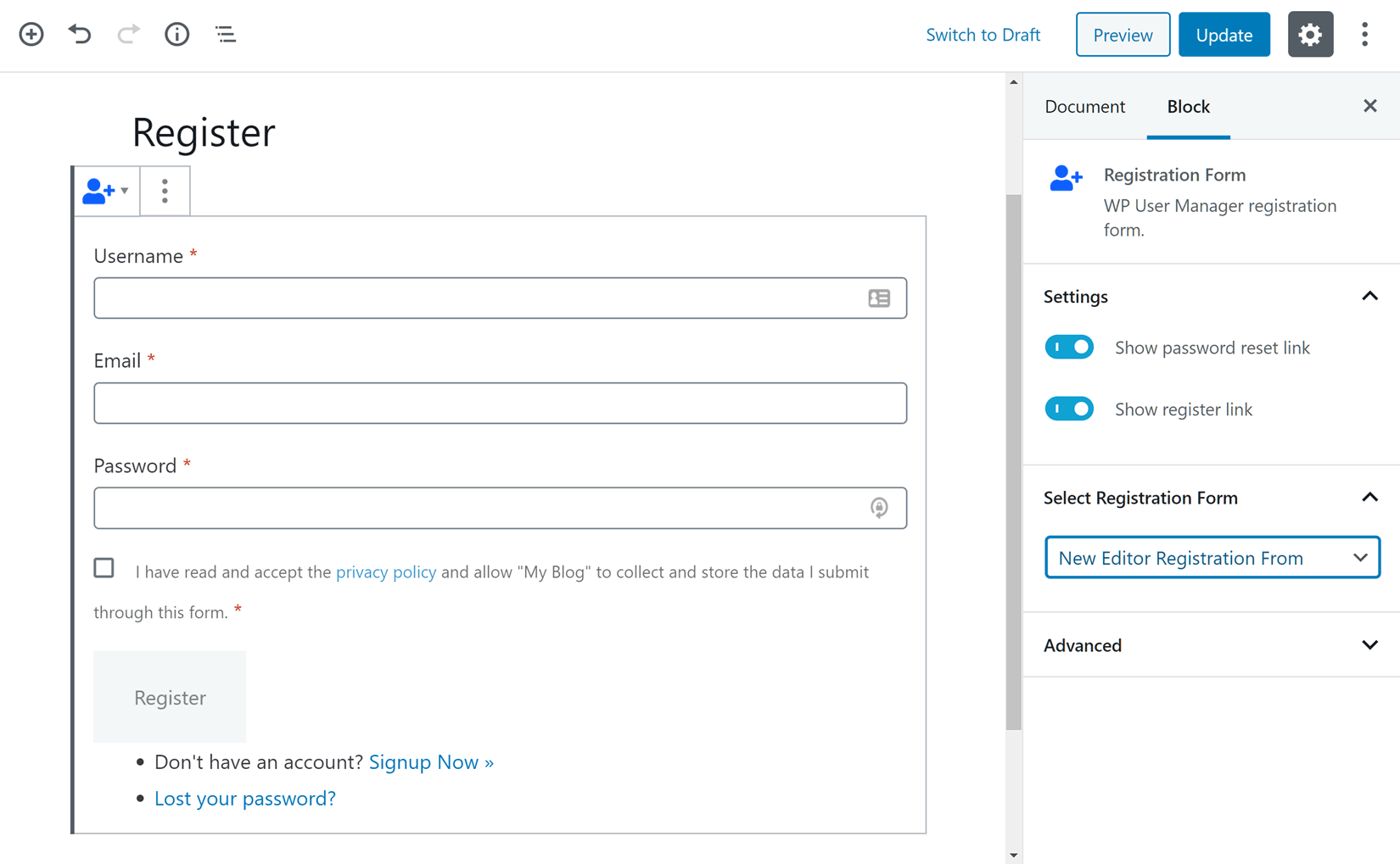 Registration Form Page Settings