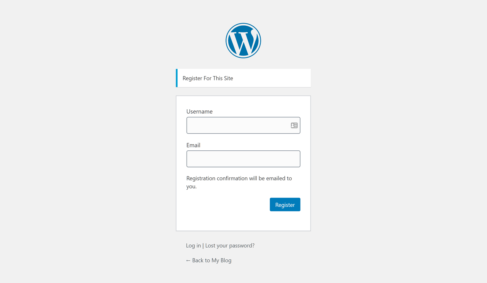 Default WordPress Registration Form