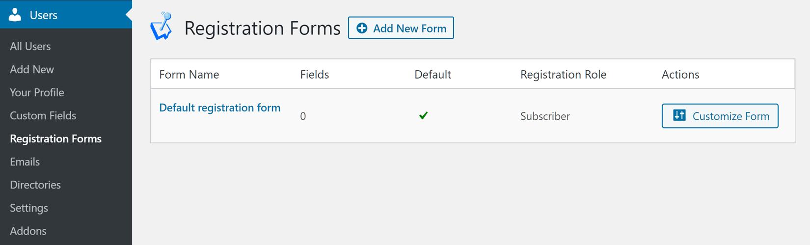 List of Registration Forms