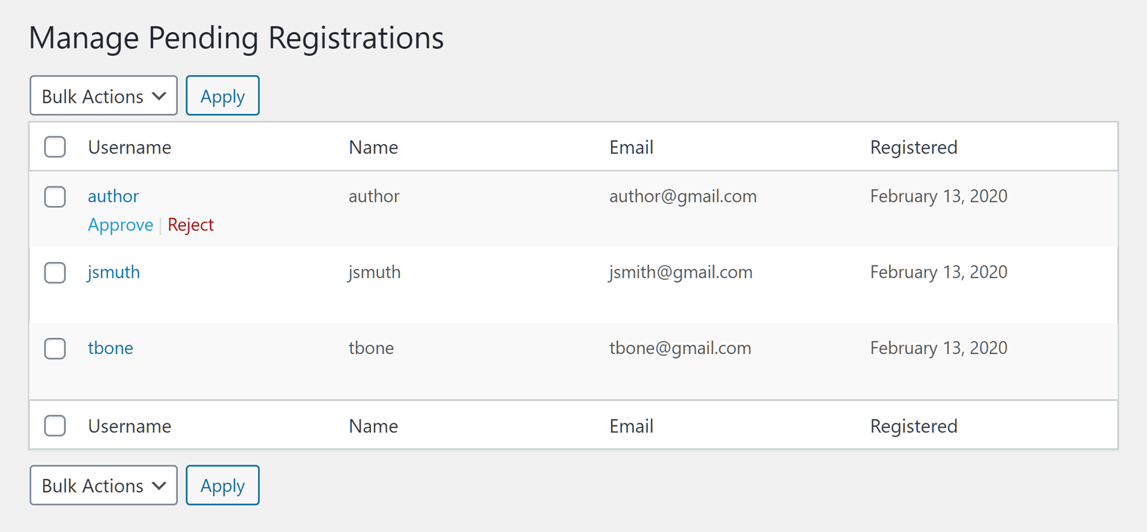 Manage New User Registrations