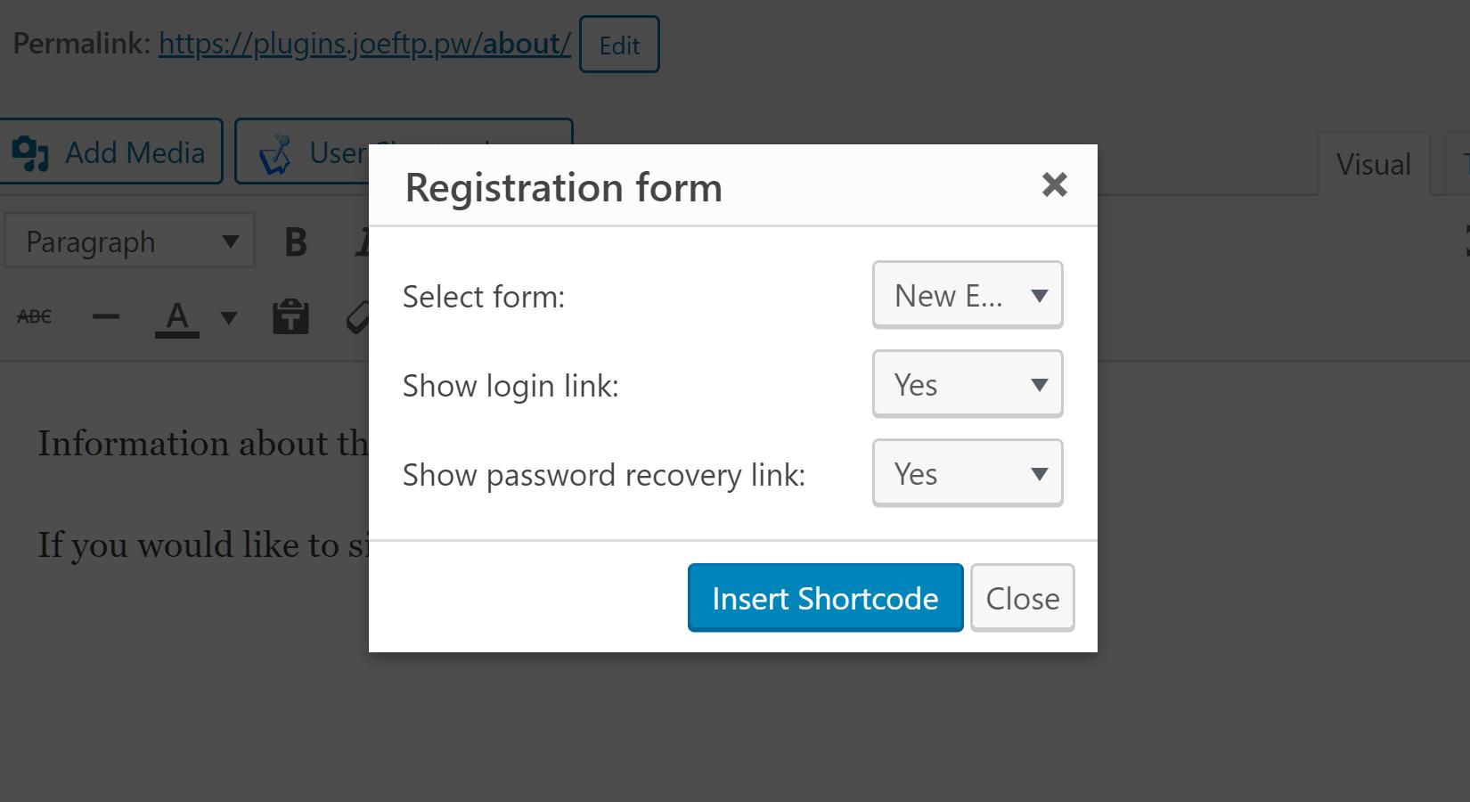 Registraiton Form Shortcode Generator
