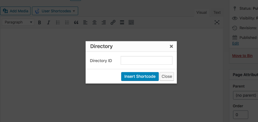 WP User Manager shortcode generator for the directory shortcode