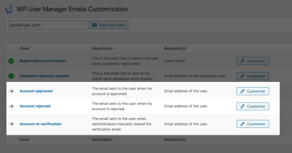 WP Configuring User Verification Emails