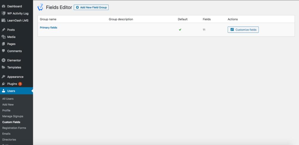 WordPress custom fields editor