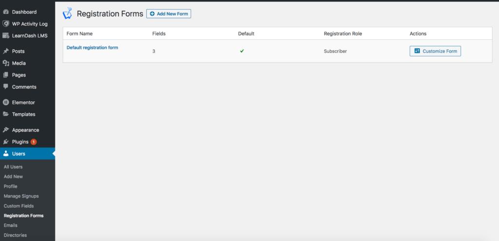 WordPress custom registration forms