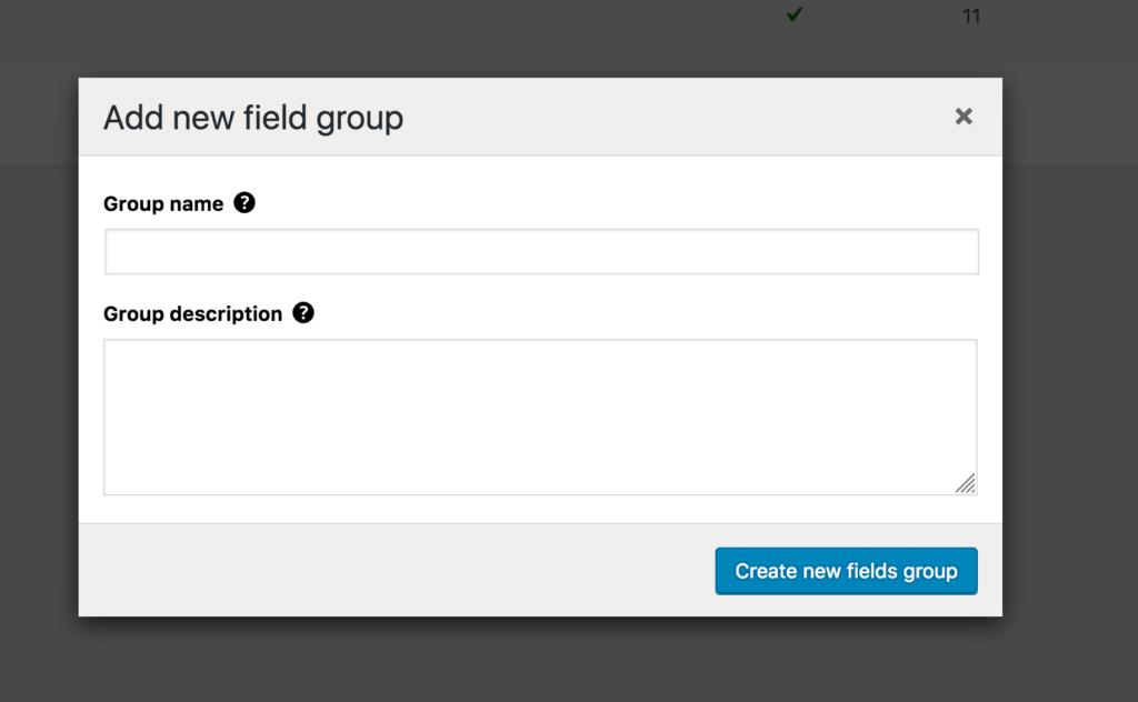 Add new WordPress custom field group