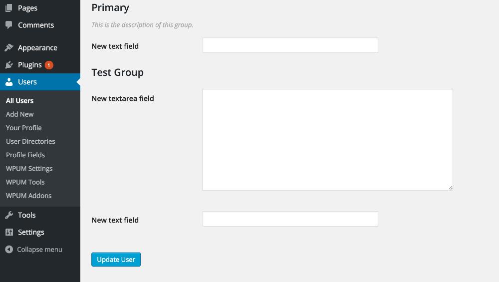Admin editing of user custom fields