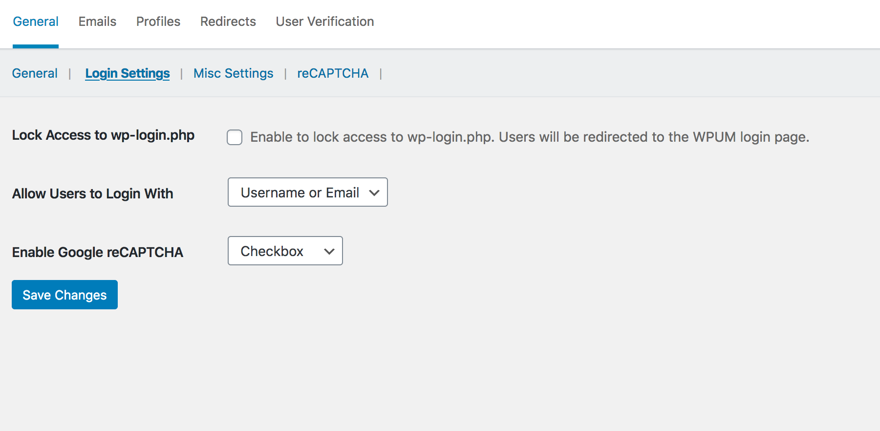 Google Recaptcha - WPUM login setting