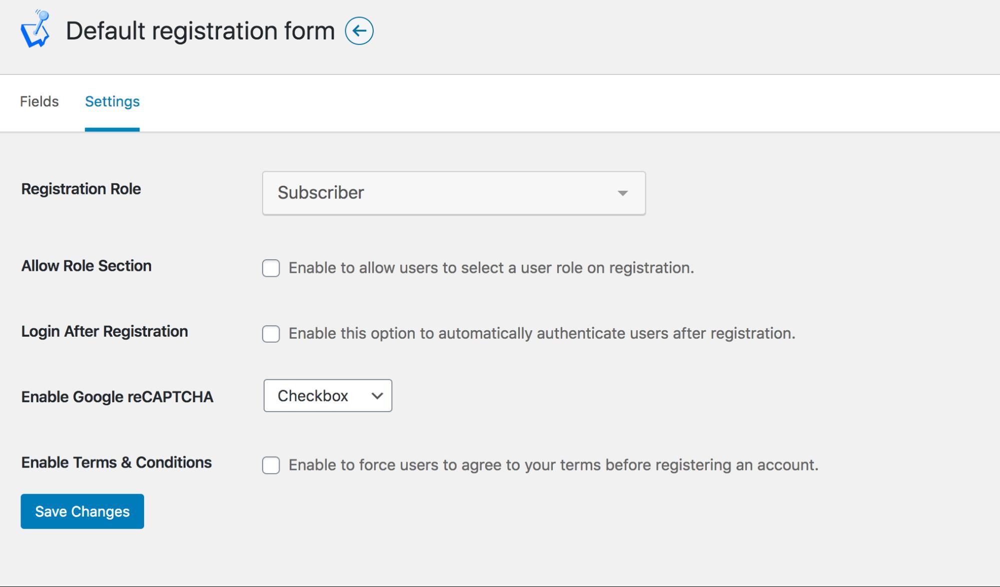 WP User Manager Default Registration form Settings