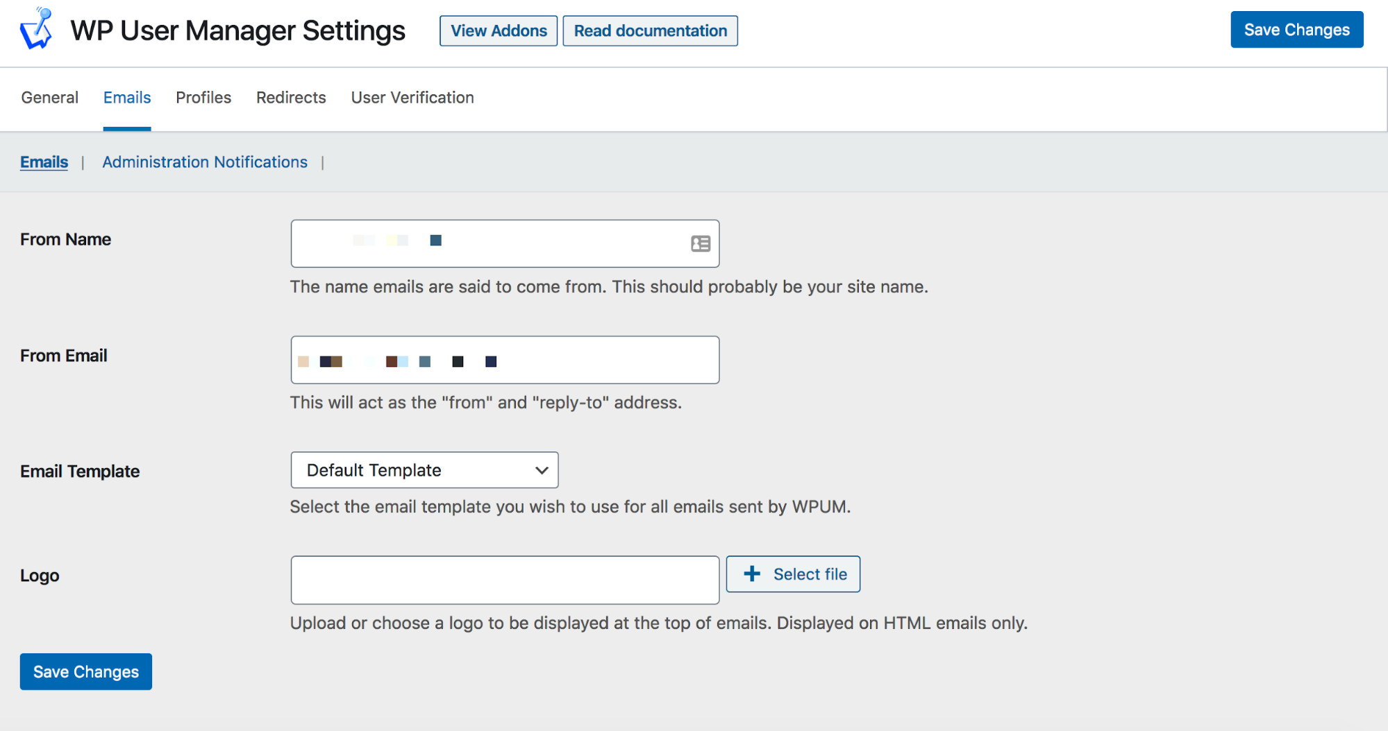 WP User Manager Email Settings