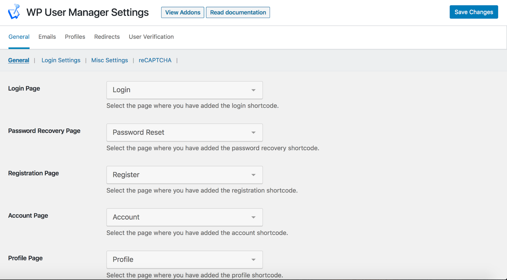 WP User Manager General Settings