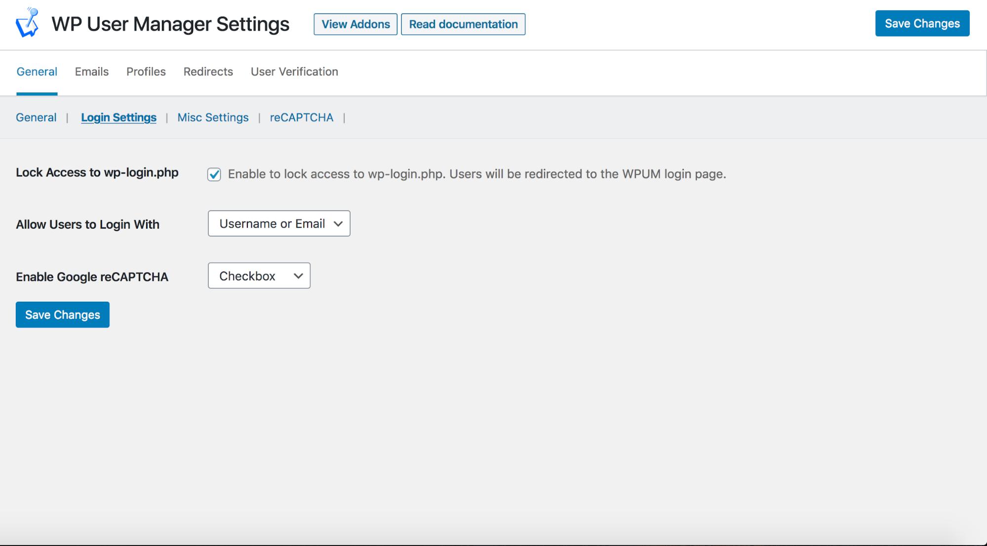 WP User Manager General login Settings 2