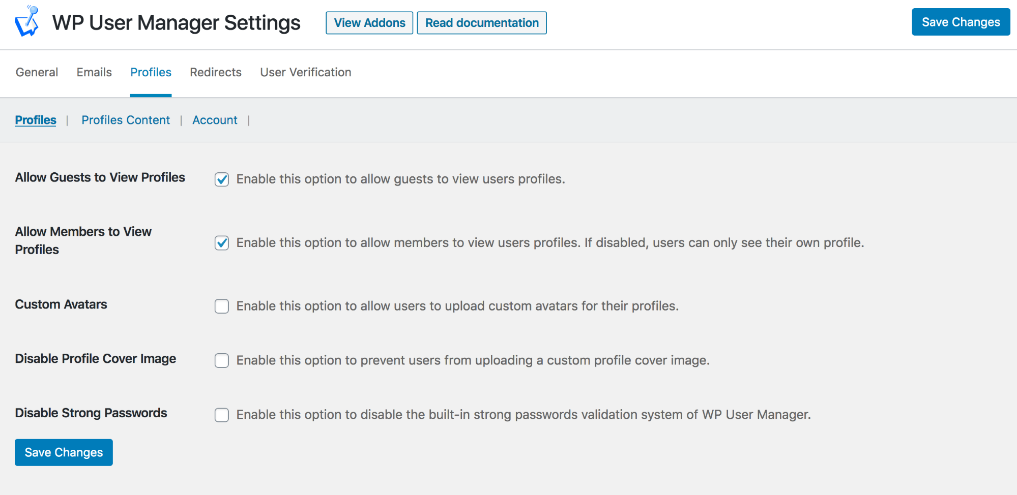 WP User Manager Profile Settings