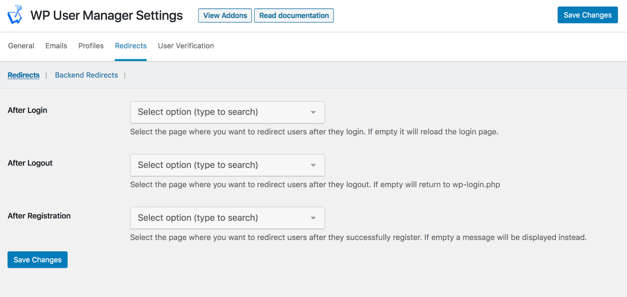 WP User Manager Redirects Settings