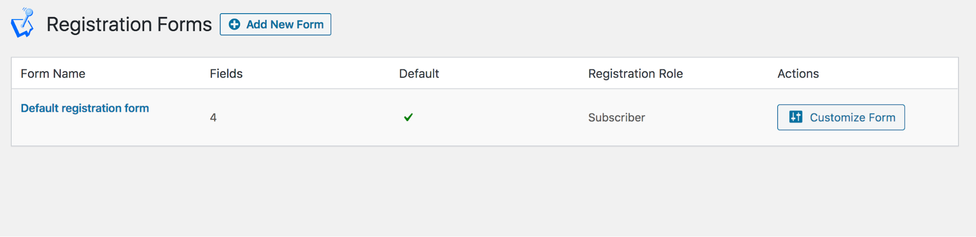 WP User Manager Registration Forms Settings