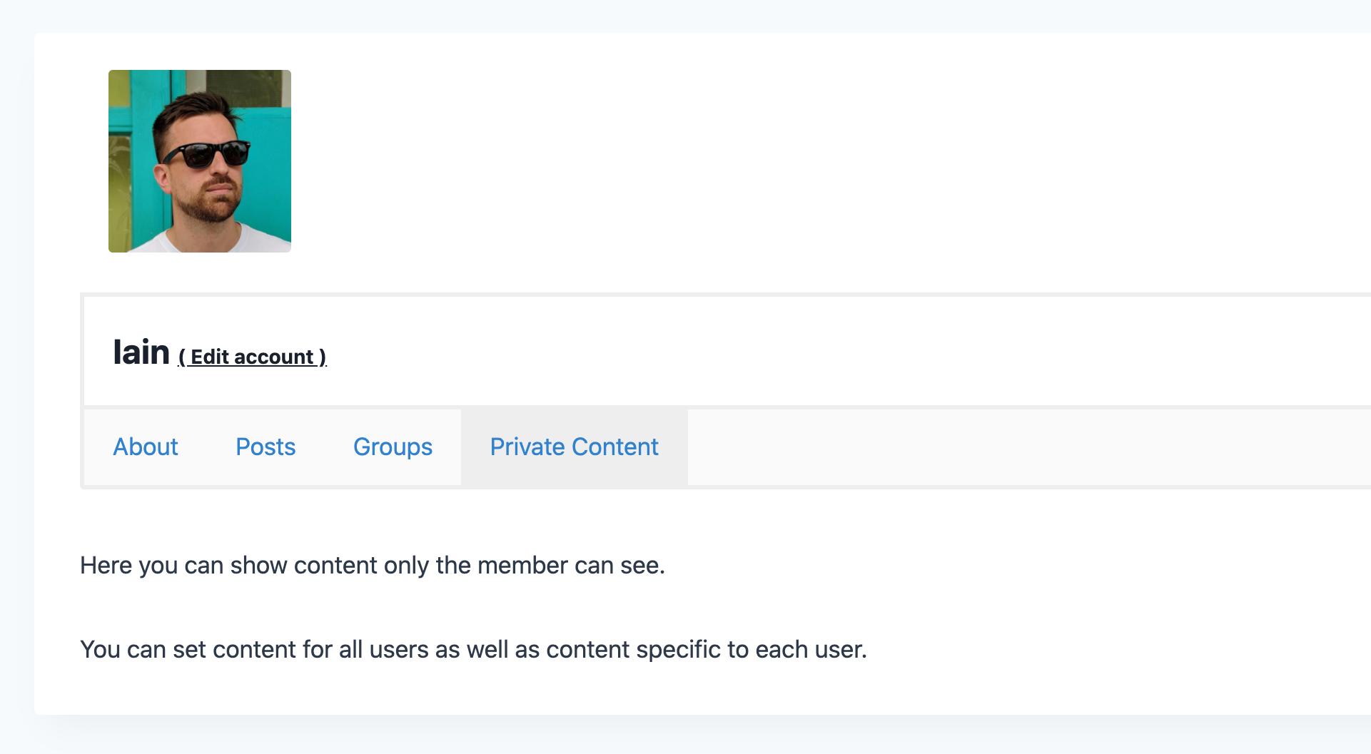 Private Content screenshot