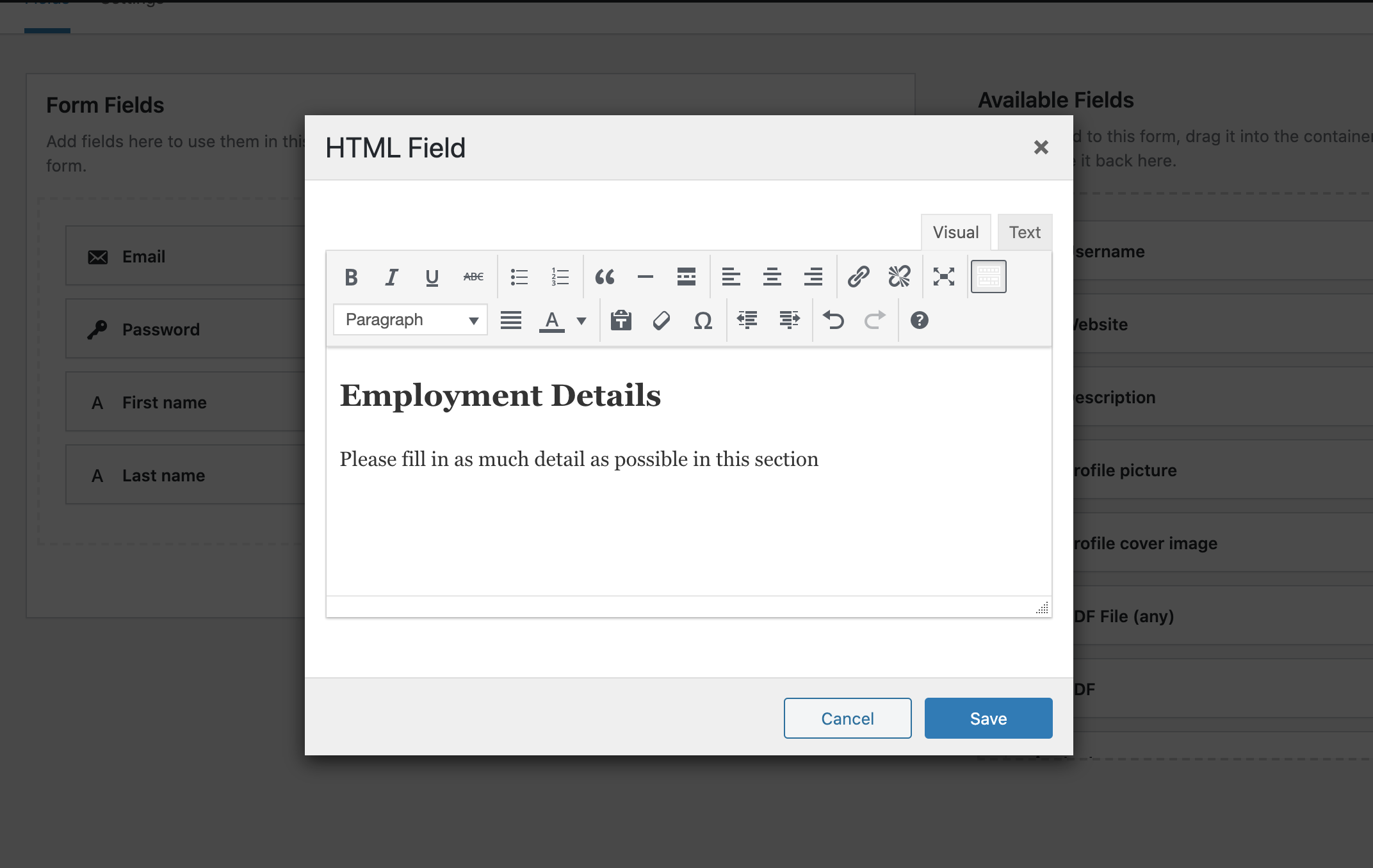 Customize Registration Forms with HTML screenshot