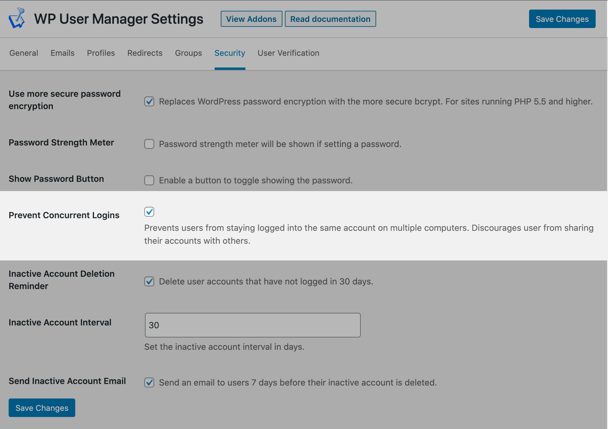 Prevent Concurrent Logins screenshot