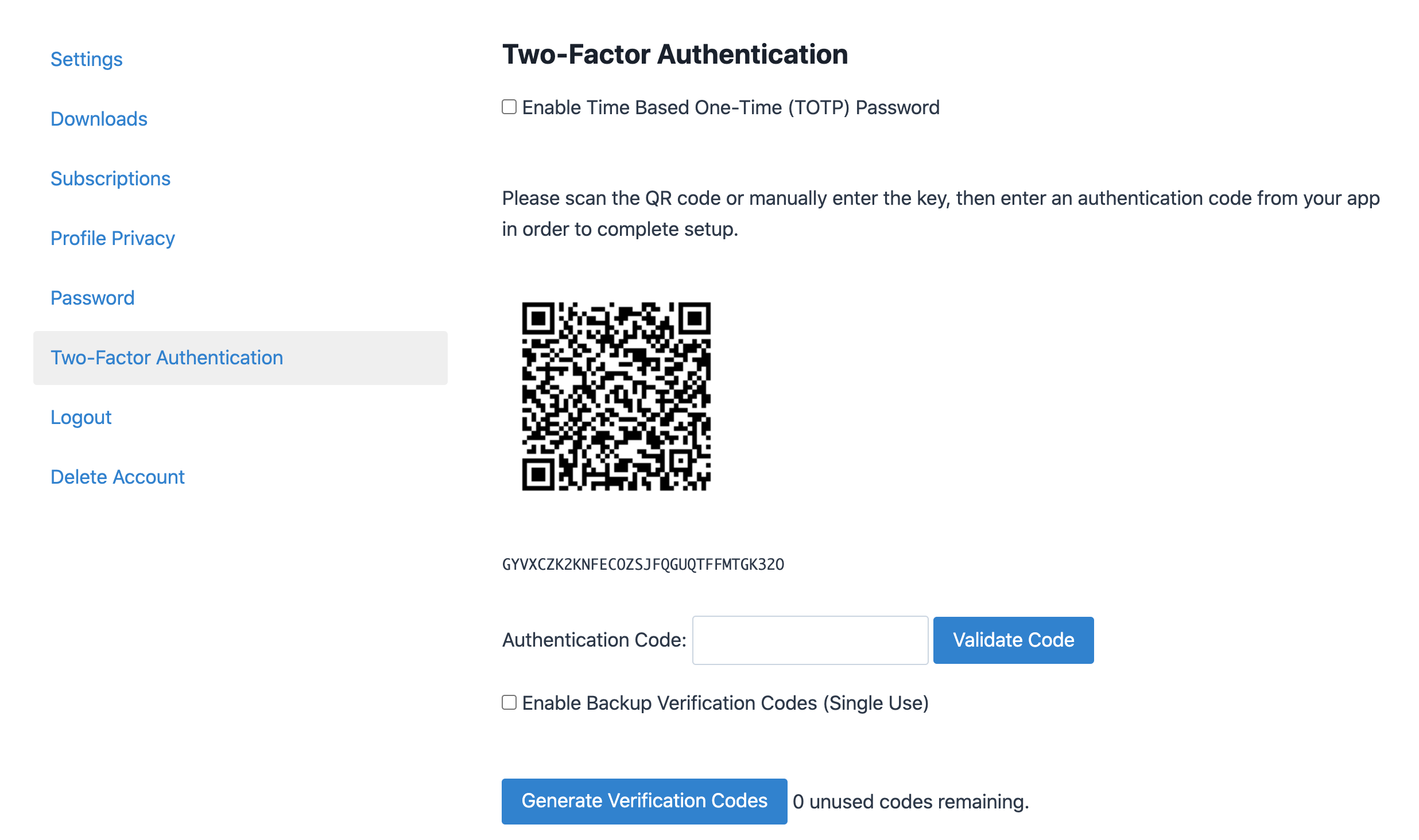 Two Factor Authentication screenshot