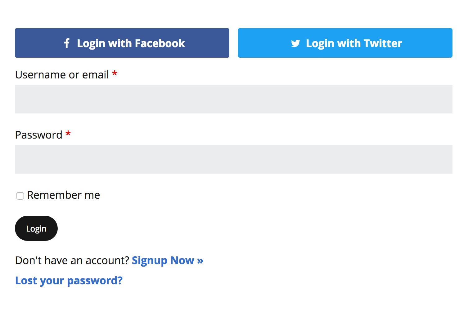 Social Login screenshot