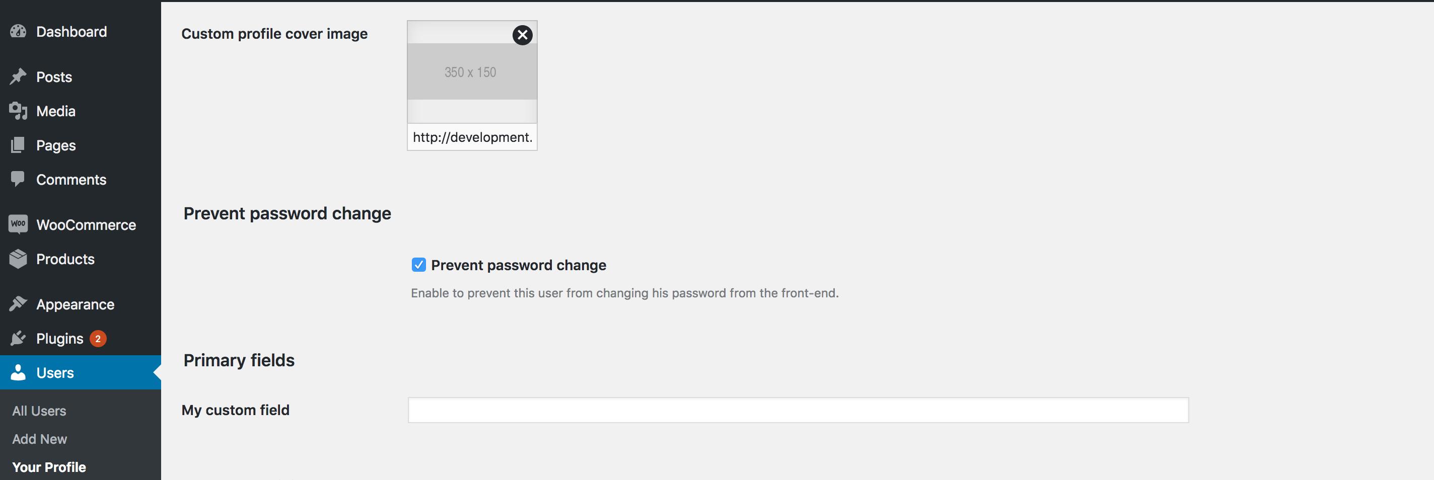 Administer Fields in the Dashboard screenshot