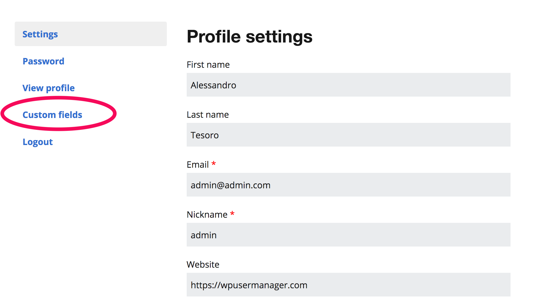 Display Fields on User Profiles screenshot