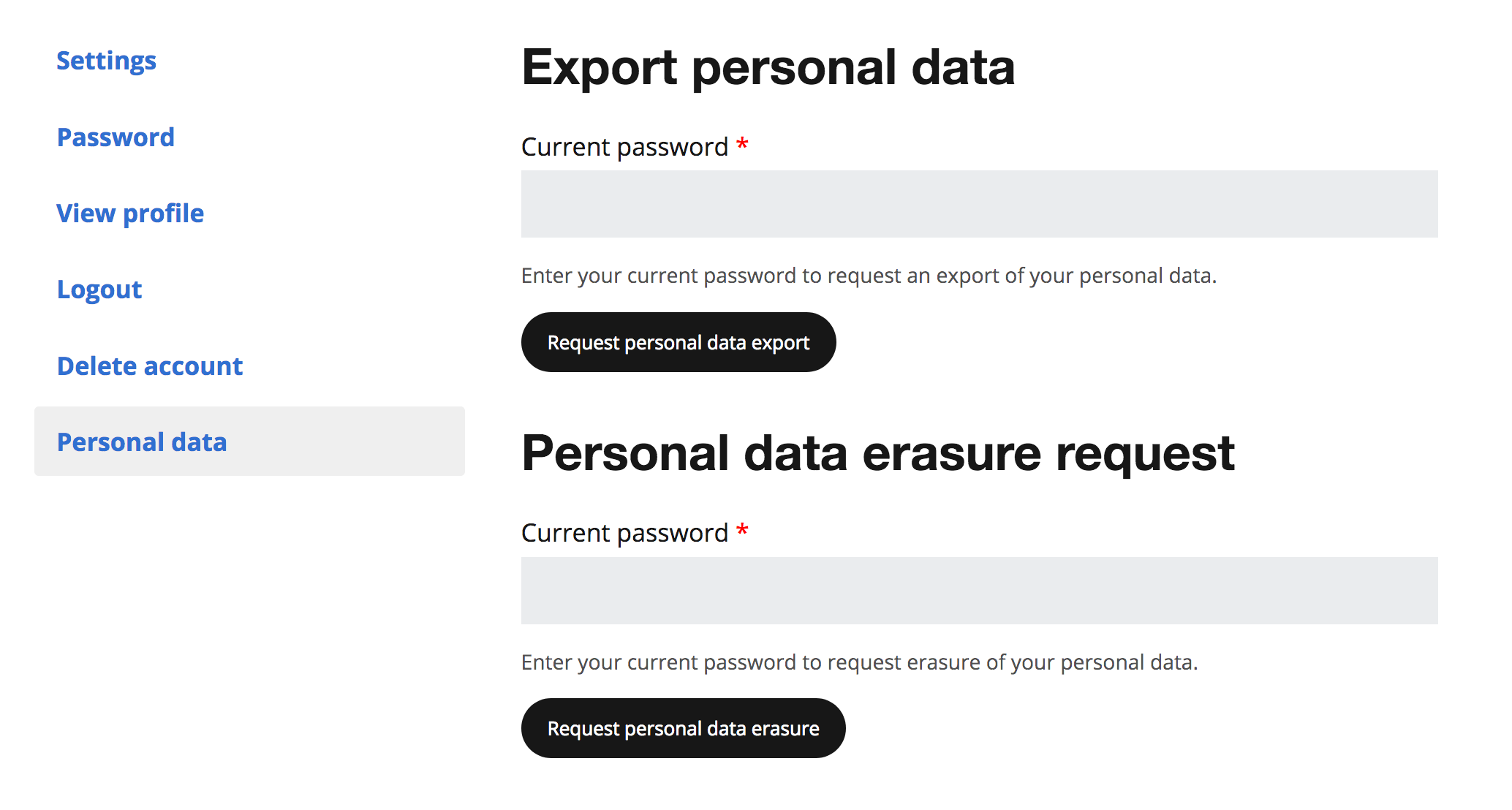Personal Data screenshot