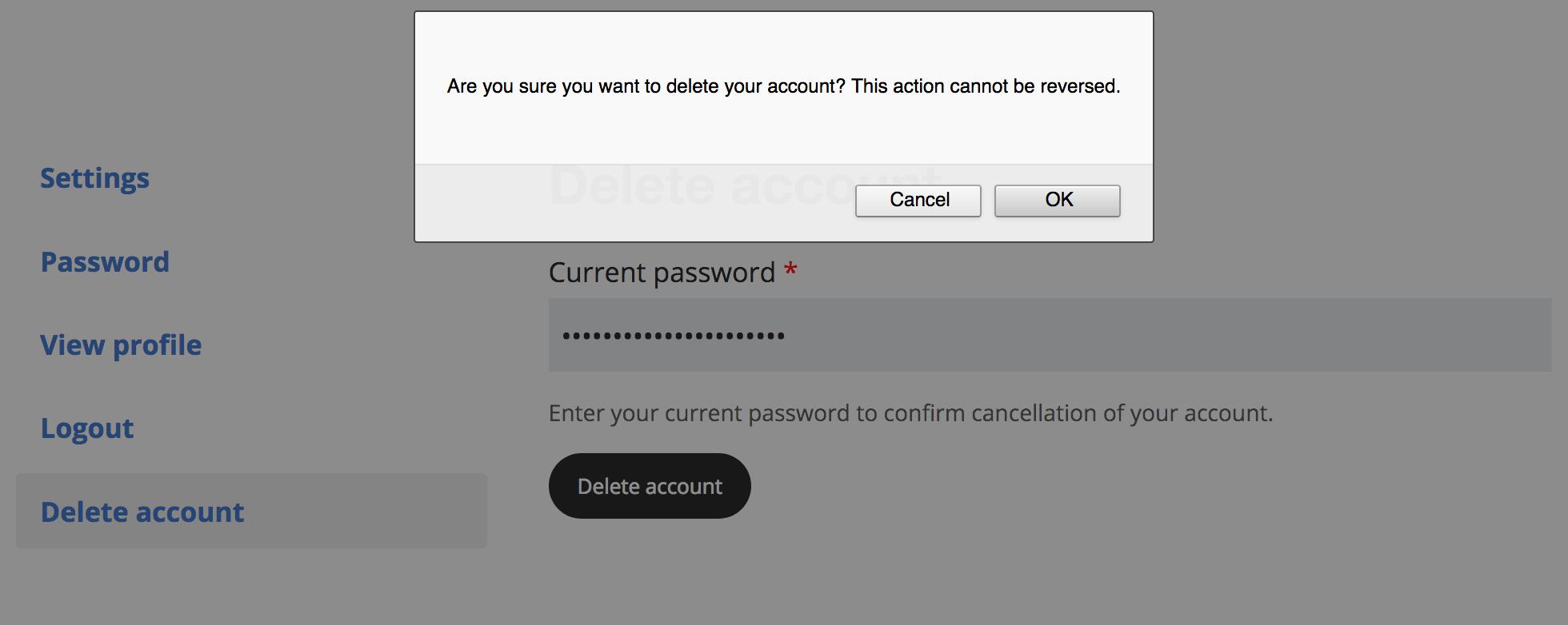 Delete Account screenshot