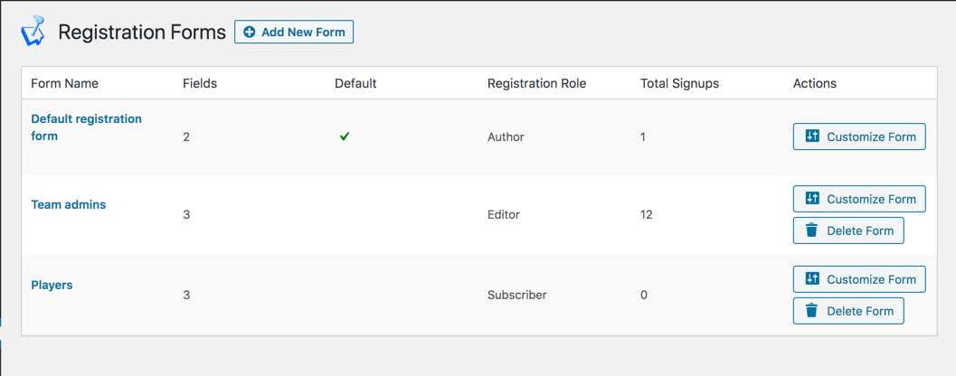 Create Unlimited Registration Forms screenshot